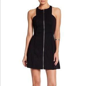 Free People High Neck Cool Zipper Black Mini Dress